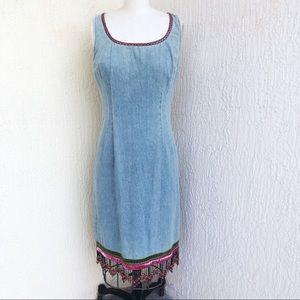 ABS Vintage Light Denim Shift Beaded Fringe Dress!